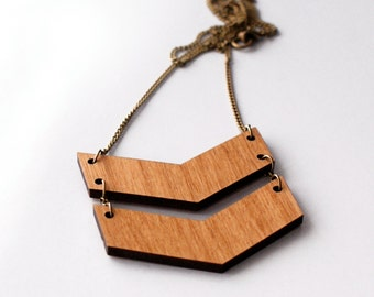 Chevron Laser Cut Wood Necklace