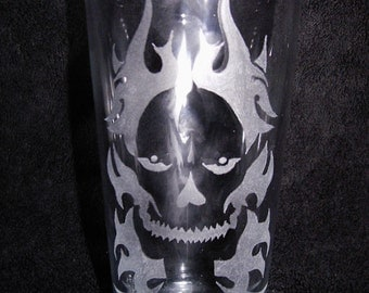 Personalised Hand Engraved Pint Glass Engraved With A Skull In Flames
