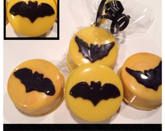 Halloween bat themed chocolate covered Oreo - Set of 12  Halloween bats party favors