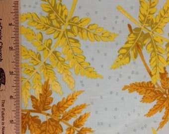 Martha Negley fabric cotton Fern leaves fabric MN28 BUTTER green gold Sewing Quilting fabric 100% cotton fabric by the yard