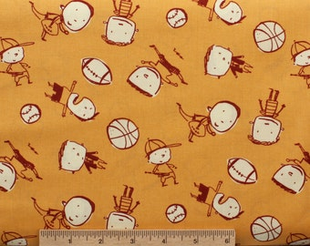 David Walker fabric Boys Will Be Boys Boys Toss DW45 Yellow Children sports balls sewing quilting 100% cotton fabric by the yard novelty