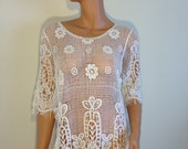 Handmade crochet top blouse tunic beige ivory hippie boho LARGE