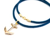 Nautical anchor necklace: Nautical Rope - Navy