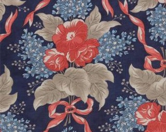 CLEARANCE - Grant Park Navy Floral Yardage by Minick & Simpson for Moda, 1/2 yard, 14770 16