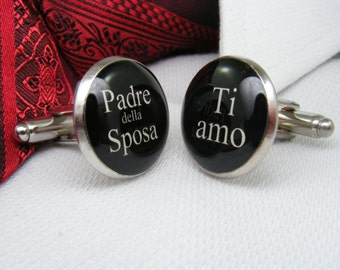 Padre della Sposa - Ti amo Gemelli - Matrimonio Gemelli - Italian Cufflinks - Wedding Ideas - Italiano Gemelli - Gioielli da Uomo - Nozze