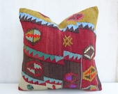 Colorful Ethnic Turkish Pillow cover Vintage Primitive Kilim Throw cushion Decorative Euro sham 40x40 Bohemian Decor 16x16' Home Decor - PillowTalkOnEtsy