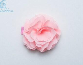 baby pink chiffon flower hair clip - child  adult hair accessories