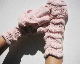 Knitted Glittens, Glove/Mittens Combo, Convertible Mittens, Adult Size, Light Pink, Handmade gloves, Winter Accessories