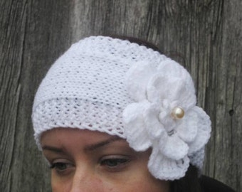 BLACK FRIDAY SALE! Ready to ship! Knitting Headband  white knitting headband Earwarmer Head Wrap white Flower Hat Girly Romantic