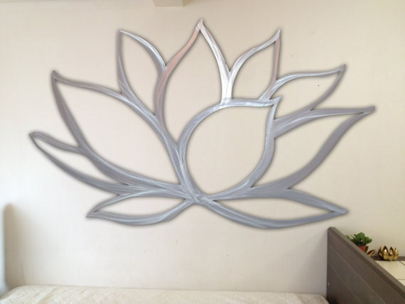 Lotus flower metal wall art by inspiremetals on etsy for Metal flower wall art