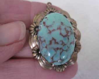 Vintage Pendant, Turquoise Glass, Exceptionally Nice Colors.