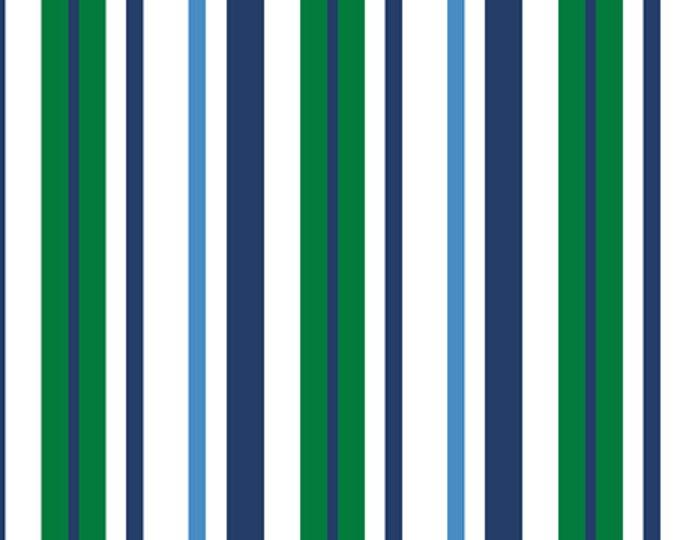 Half Yard Newport - Stripe in White - Nautical Themed Cotton Quilt Fabric - from Studio 8 for Quilting Treasures (W1413)