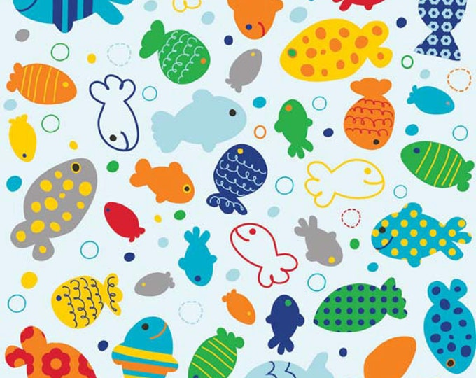 1/4 Yard REMNANT In The Ocean - Fish in Blue - Cotton Quilt Fabric - Leslie Grainger for Riley Blake Designs - C4111-BLUE (W2001)