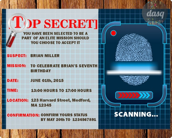 INSTANT DOWNLOAD Spy Invitation - Secet Agent Party - Spy Invitation - Secret Agent Invite- Bachelor- Murder Mystery