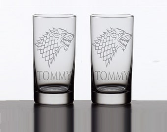 2 House Stark Game of Thrones Highball Glasses - Personalized House Stark Tumbler - Etched Game of Thrones Highball Glass - GeekyGoodz
