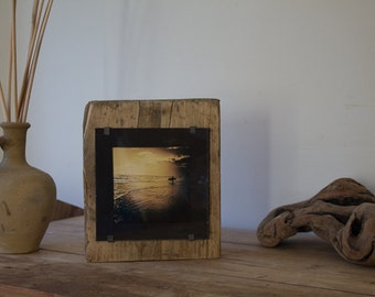 Surfing photography - beach surf art  - surf decor  - surf prints - gifts for surfers - wood wall art - reclaimed wood photo frame