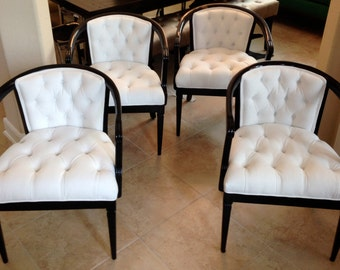 SOLD- CAN REPLICATE 4 vintage barrel chairs with white velvet