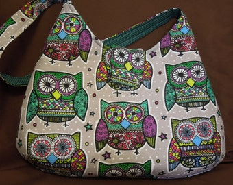 Modern Owl Hobo Bag/Medium Size Handbag/Grey Background with Multi-colored Owls