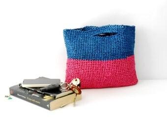 raffia crochet purse, block colors handbag, radiant orchid and dazzling blue crochet bag, vintage style bag
