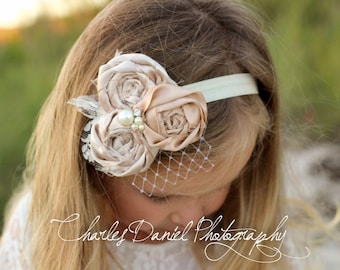 The Amelia Vintage Rosette Headband - Satin Rosette Flower Headband, with pearls, rhinestones, birdcage netting embellishments