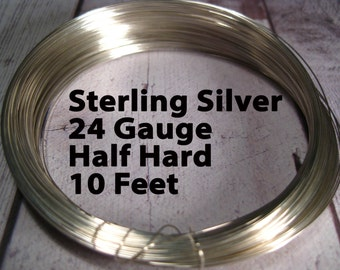 15% Off SALE!! Sterling Silver Wire, 24 Gauge, 10 Feet WHOLESALE, Half Hard, Round.