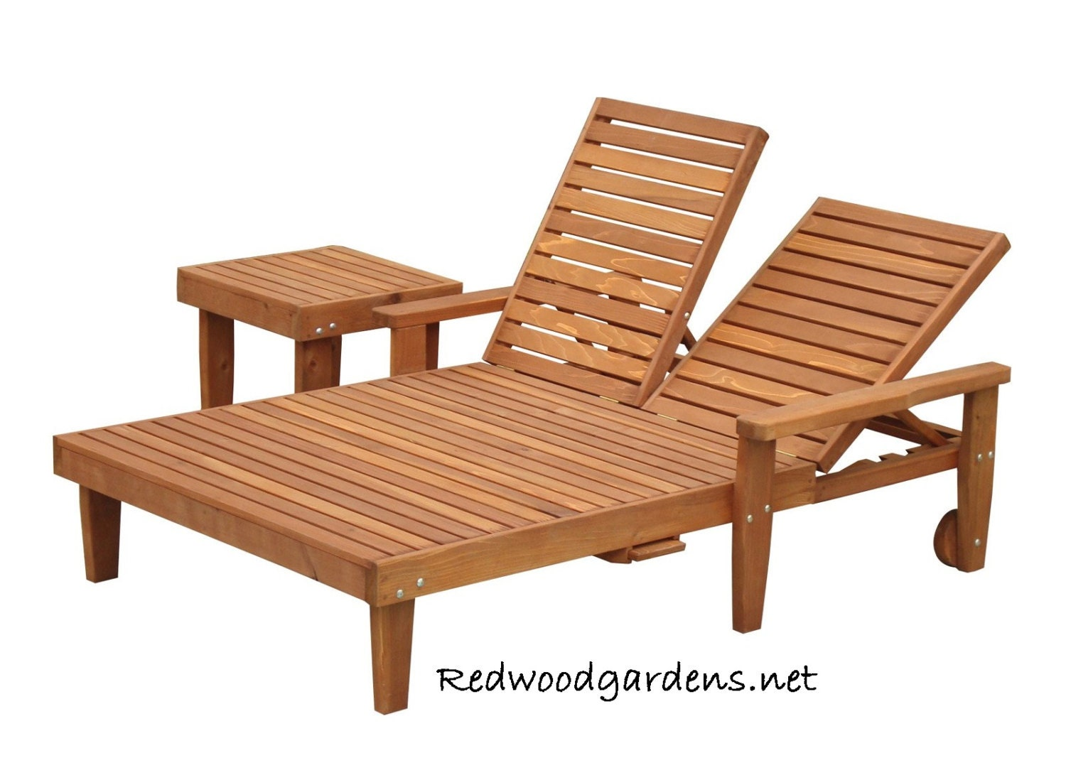 Double Chaise Lounge Reclinable for Pool Patio by RedwoodGardens