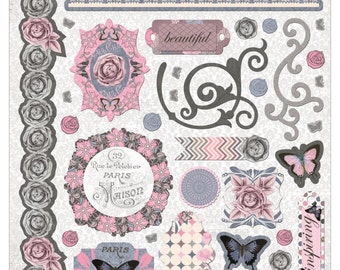 """Bo Bunny  Isabella Collection  Adhesive  Chipboard 12""""x12"""" - 14315752"""