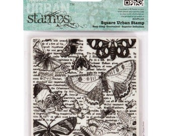 """Docrafts Papermania Cling Urban Stamps Lepidopterology 4"""" Square -PM907139, butterfly background, cardmaking, rubber stamp"""