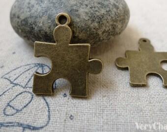 20 pcs Antique Bronze Puzzle Piece Charms  19x22mm  A6317