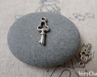 50 pcs Antique Silver Tiny Skeleton Key Charms 7x16mm A7243