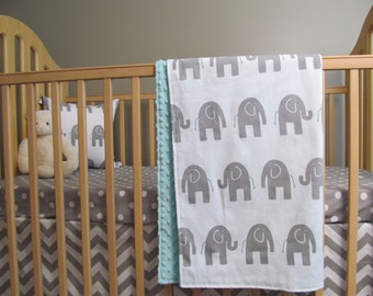 Elephant Baby Boy Bedding - Sheet, Blanket & Crib Skirt  in Grey Elephants and Geometrics