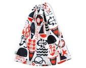 Striking Nautical Navy & Orange Swim Bag. Perfect for the Beach or Pool. Durable Waterproof Drawstring Bag. Wet Bag. Nappy Bag. Beach Bag.