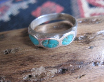 Turquoise and Sterling Band Ring Size 8.5