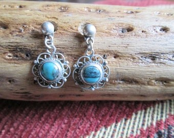 Ornate Turquoise and Sterling Earrings