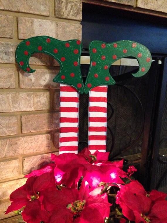 Christmas Elves Elf Legs Door Hanger Wreath Holiday