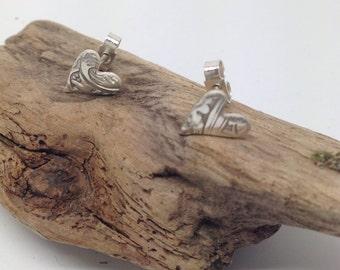 Embossed Fine Silver Heart Earrings