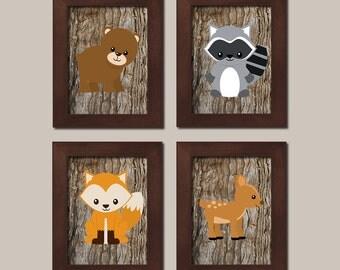 WOODLAND Nursery Prints, Woodland Animals, Prints Or Canvas WALL ART, Woodland Baby Shower, Boy Nursery Decor Bear Raccoon Fox Deer Set of 4