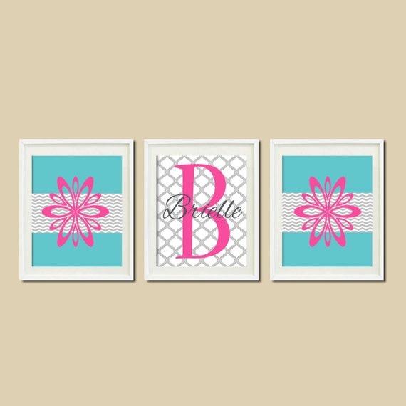 Items similar to teen room decor floral chevron monogram for Room decor etsy