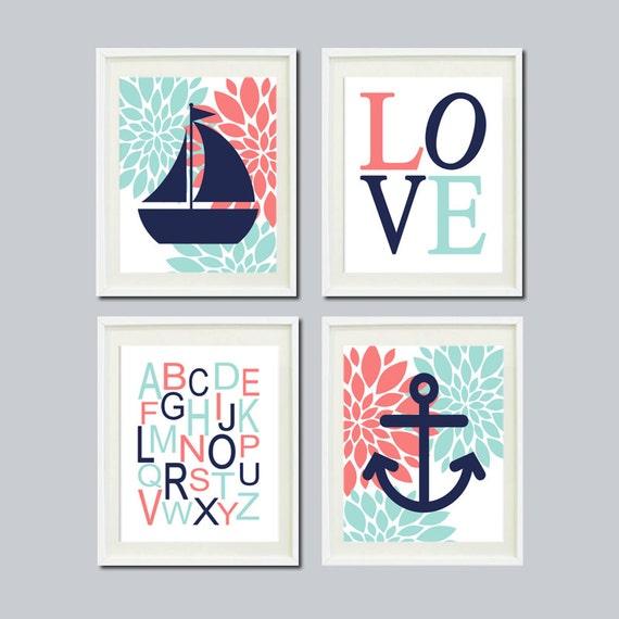 Anchor Wall Decor Nursery : Items similar to girl nursery art nautical floral coral