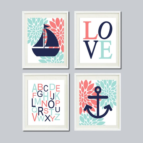 Nautical Baby Wall Decor : Items similar to girl nursery art nautical floral coral
