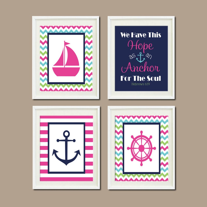 Nautical nursery decor baby girl wall art hot by lovelyfacedesigns - Wall decor girl nursery ...