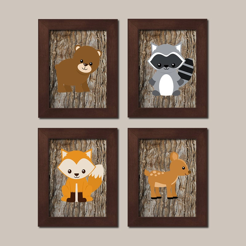 Woodland Nursery Wall Decor : Woodland nursery printables animals wall art