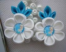 Handmade Kanzashi girls toddler baby hair clips bows- buy in UK,shipping worldwide-Frozen Elsa hair accessories