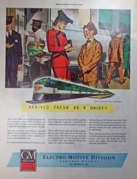 Vintage print ad from 1946 for electro motive division of for Electro motive division of general motors