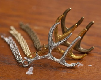 Deer Antler Pin with Tassel - Silver, Gold, Bronze