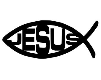 Jesus Fish Decal - Jesus Fish Sticker - Christian Fish Symbol Sticker - Religious Fish Decal