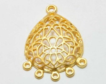 2 Pieces Matte Gold Brass Fretwork Earring Dangles, Jewelry Findings, Jewelry Making Supplies