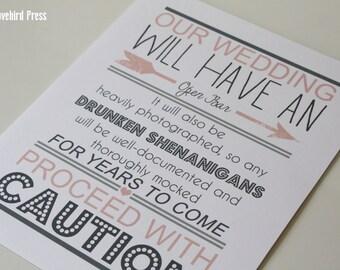 Wedding Bar Sign - Open Bar - Drunken Shenanigans - Bar Decoration - Wedding Bar - PDF - DIY - AA4
