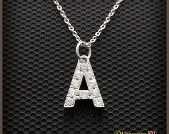 Gold Diamond Initial Necklace, Diamond Initial Pendant, Personalized Diamond Initial Necklace, Initial Necklace Gold,