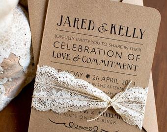Rustic elegance printed or printable wedding invitations, barn wedding invitation, printable wedding invitations